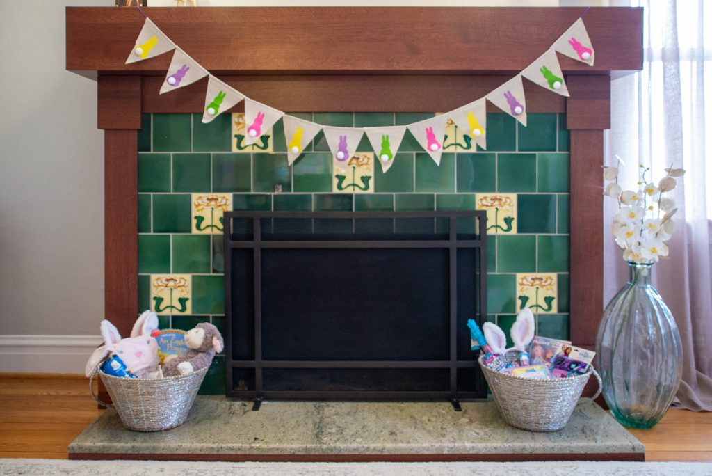 Easter decorations on fireplace