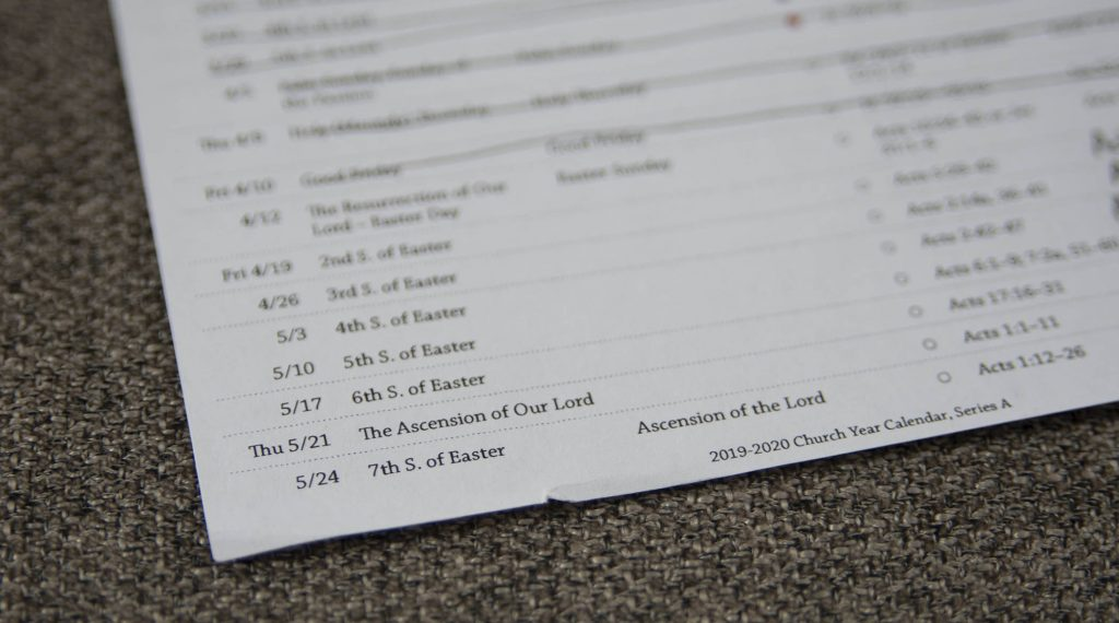 Photo of lectionary bookmarks, focused on the Sundays after Easter
