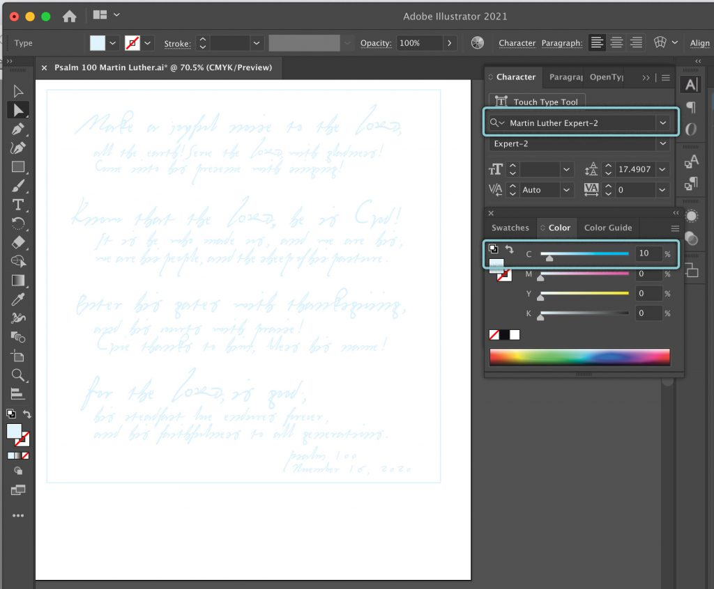 Cyan type to trace Martin Luther handwriting of Psalm 100