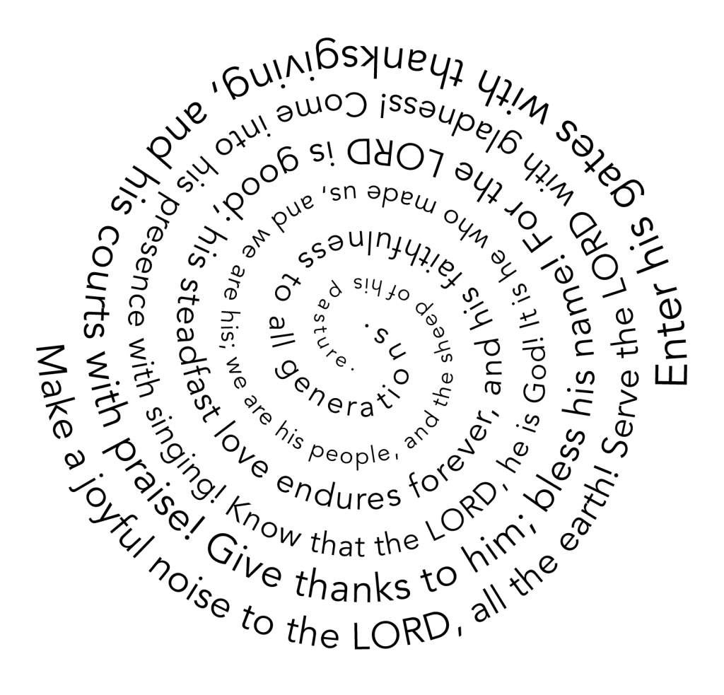 Graphic of both spiral texts in black