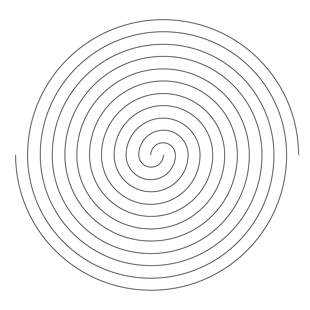 Graphic of one black double-spiral