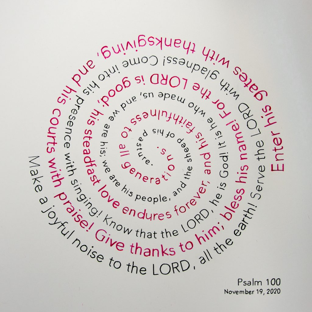 Psalm 100 written in a spiral