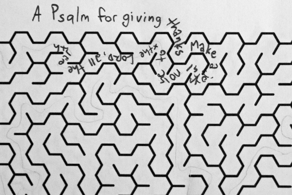 First attempt: Hand writing a bible verse in a maze