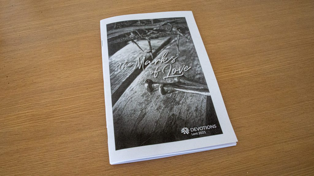 Photo of Lent devotion printed, and sitting on a desk